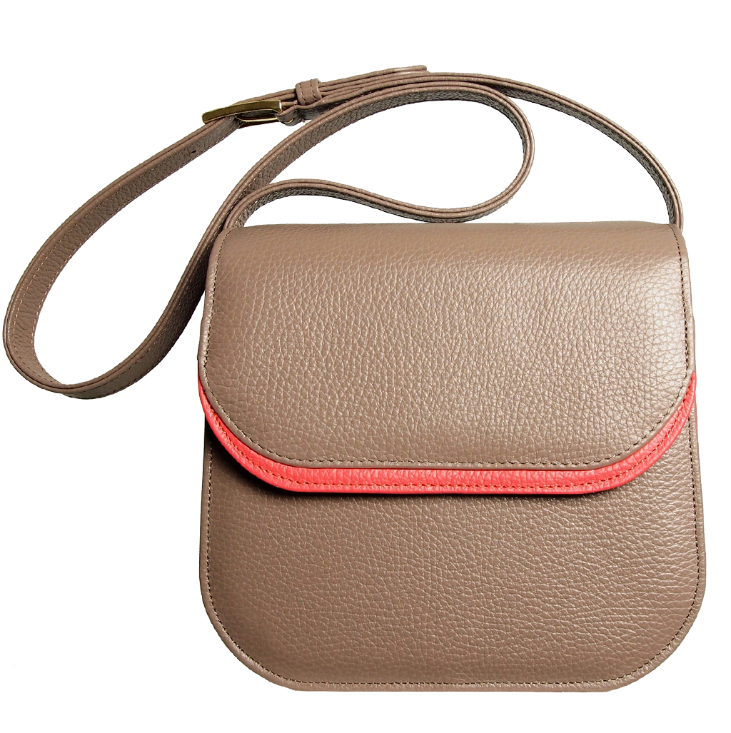 Midi Shoulder Bag Taupe-Coral-Handbag-72 Smalldive