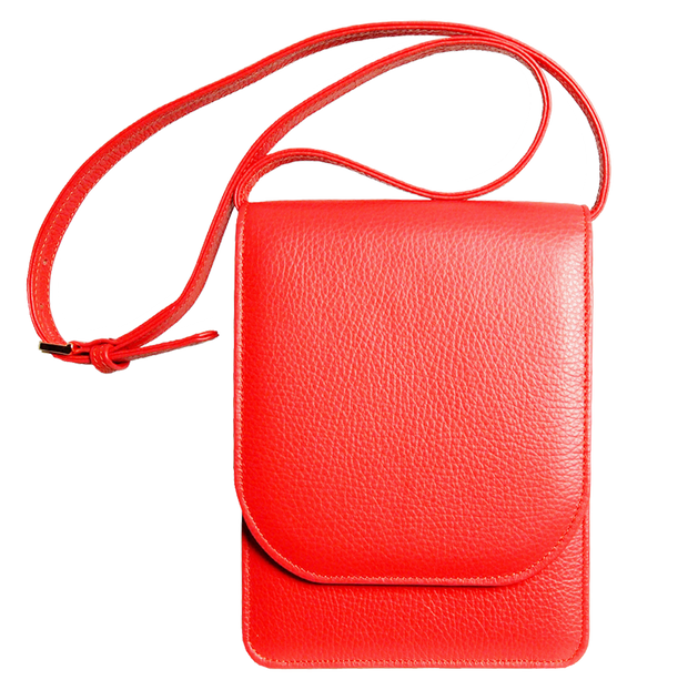 Pebbled Calf Leather Mini Bag Coral-Handbag-72 Smalldive