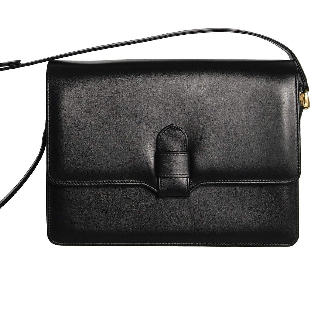Calf Leather Shoulder Handbag Black-Handbag-72 Smalldive