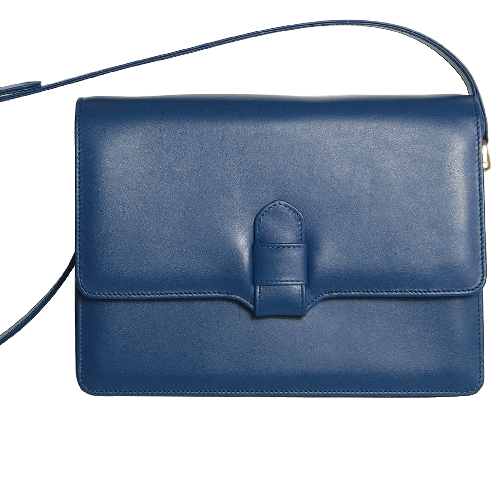 Calf Leather Shoulder Handbag Blue-Handbag-72 Smalldive