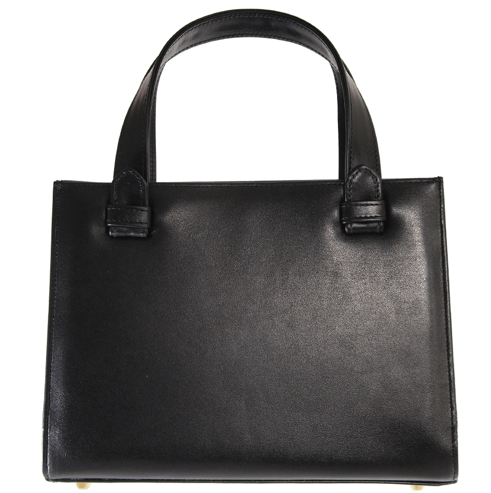 Calf Leather Tote Black-Handbag-72 Smalldive