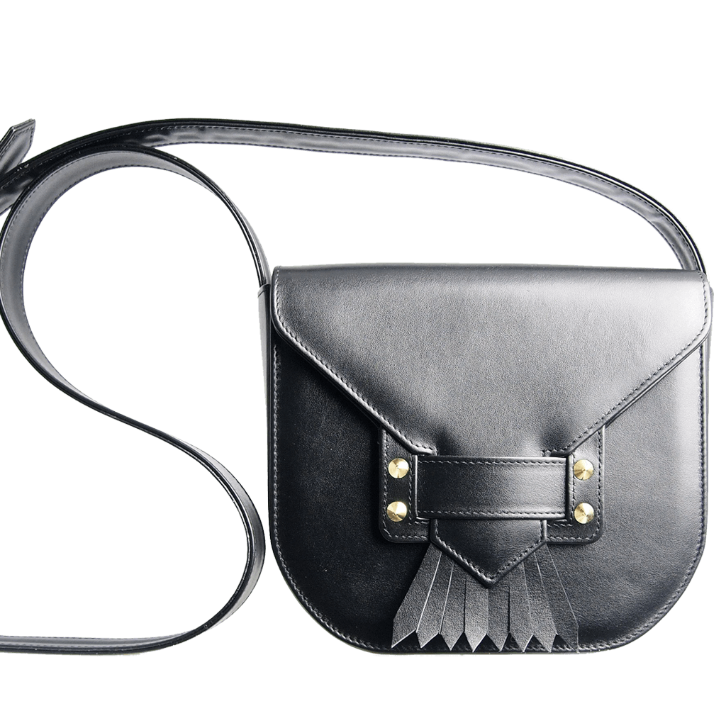 Saddle Bag with Dove Tail Fringe Black-Handbag-72 Smalldive