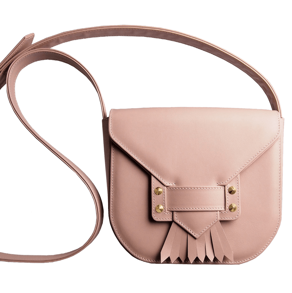 Leather Saddle Bag With Dovetail Fringe Pink-Crossbody Handbag-72 Smalldive