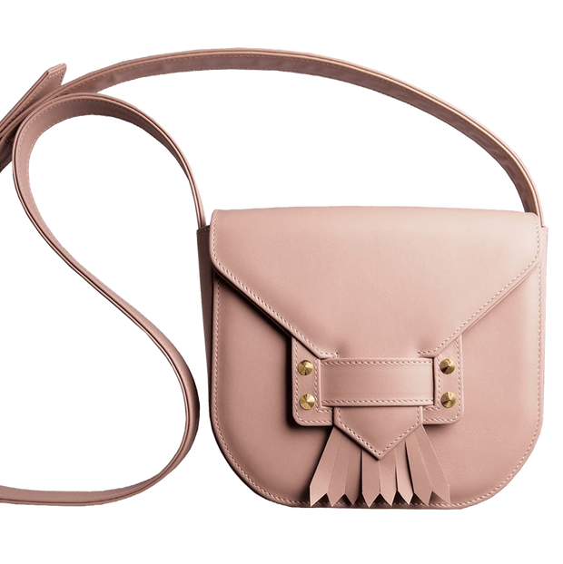 Saddle Bag with Dove Tail Fringe Dusty Rose-Handbag-72 Smalldive
