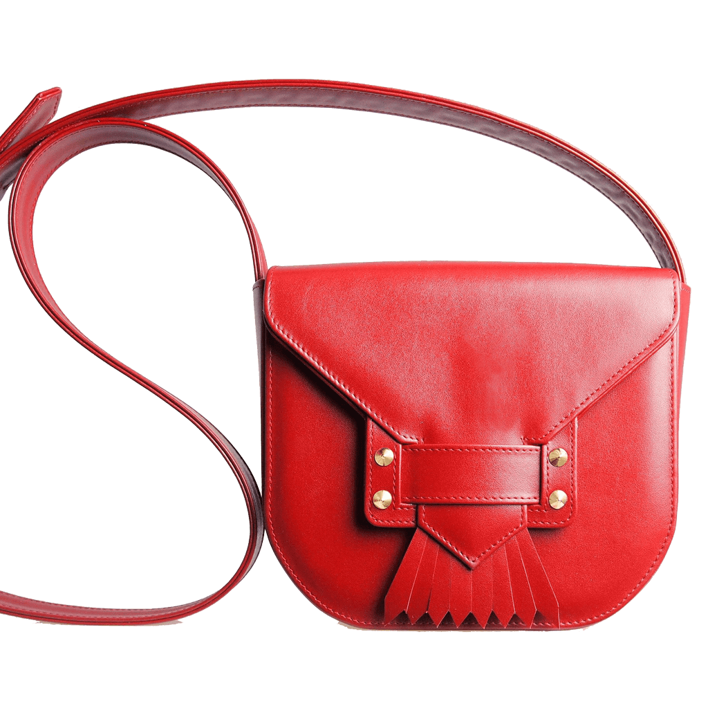 Leather Saddle Bag With Dovetail Fringe Red-Crossbody Handbag-72 Smalldive