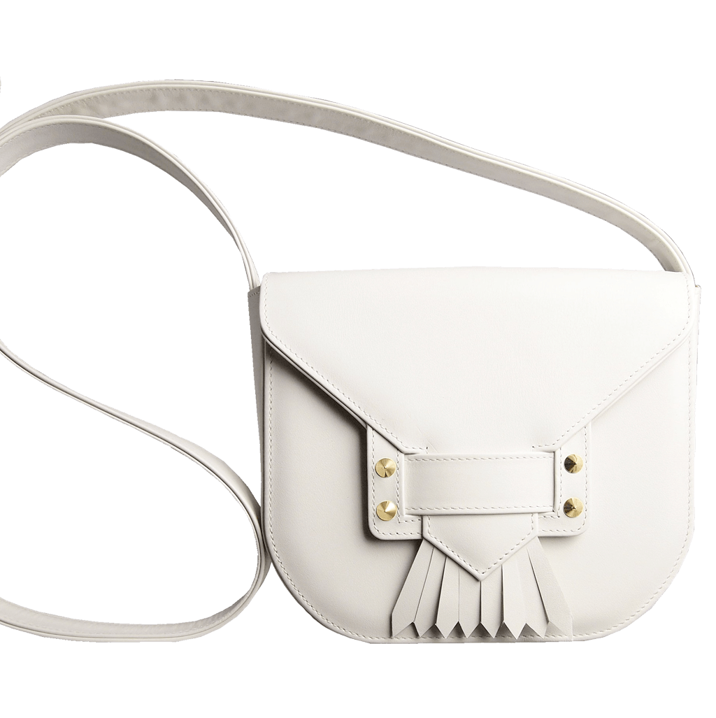 Leather Saddle Bag With Dovetail Fringe Ivory-Crossbody Handbag-72 Smalldive