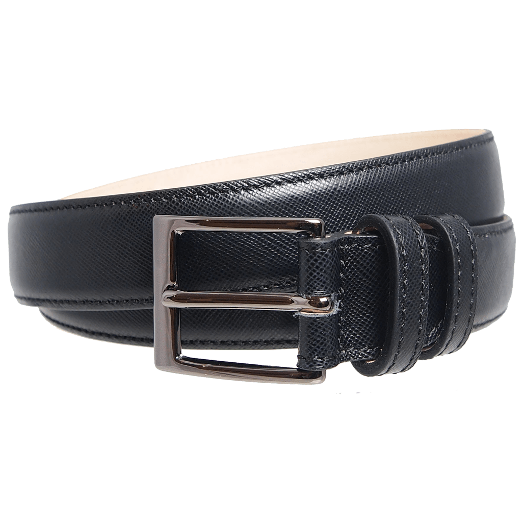 34 mm Sartorial Saffiano Belt Black-Mens Belts-72 Smalldive