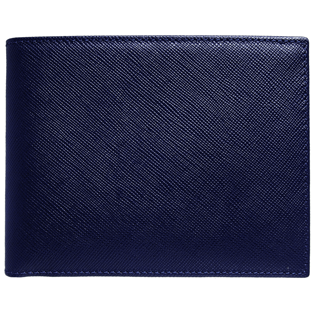 8 Credit Card Saffiano Billfold Navy Blue-Mens Wallets-72 Smalldive