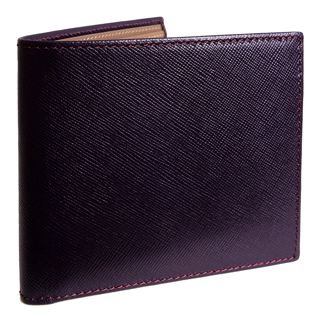 8 CC Saffiano Bi-Color Billfold Bordeaux-Taupe-Mens Wallets-72 Smalldive