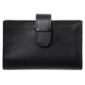 Saffiano Business Card Case Black-Unisex Wallets-72 Smalldive
