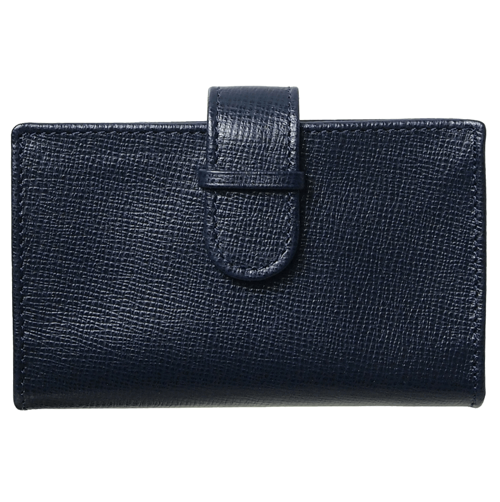 Saffiano Business Card Case Blue-Unisex Wallets-72 Smalldive