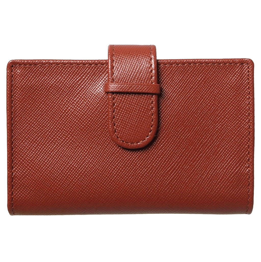 Saffiano Business Card Case Brown-Unisex Wallets-72 Smalldive