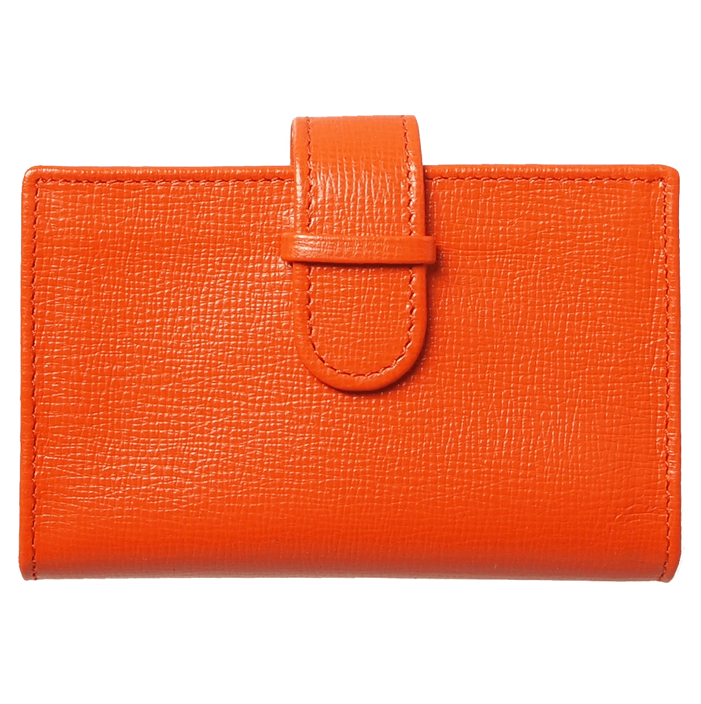 Saffiano Business Card Case Orange-Unisex Wallets-72 Smalldive
