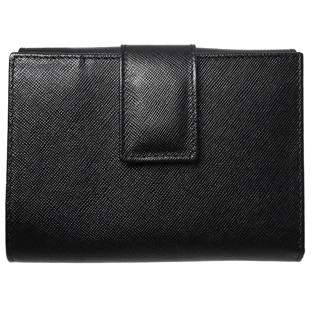 72 Smalldive Womens Wallets 6 Credit Card Saffiano Leather French Wallet Black.