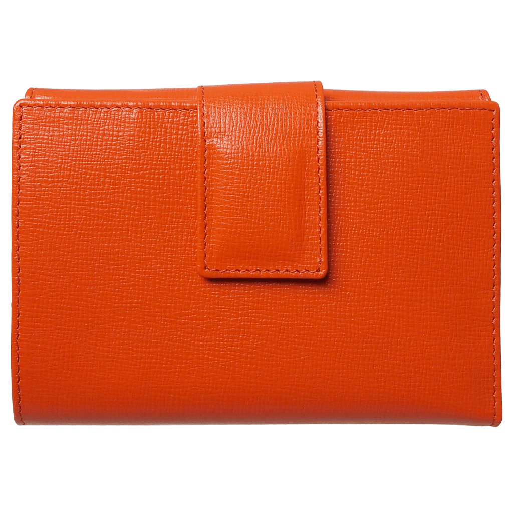 6 Credit Card Saffiano Leather French Wallet Orange-Womens Wallets-72 Smalldive