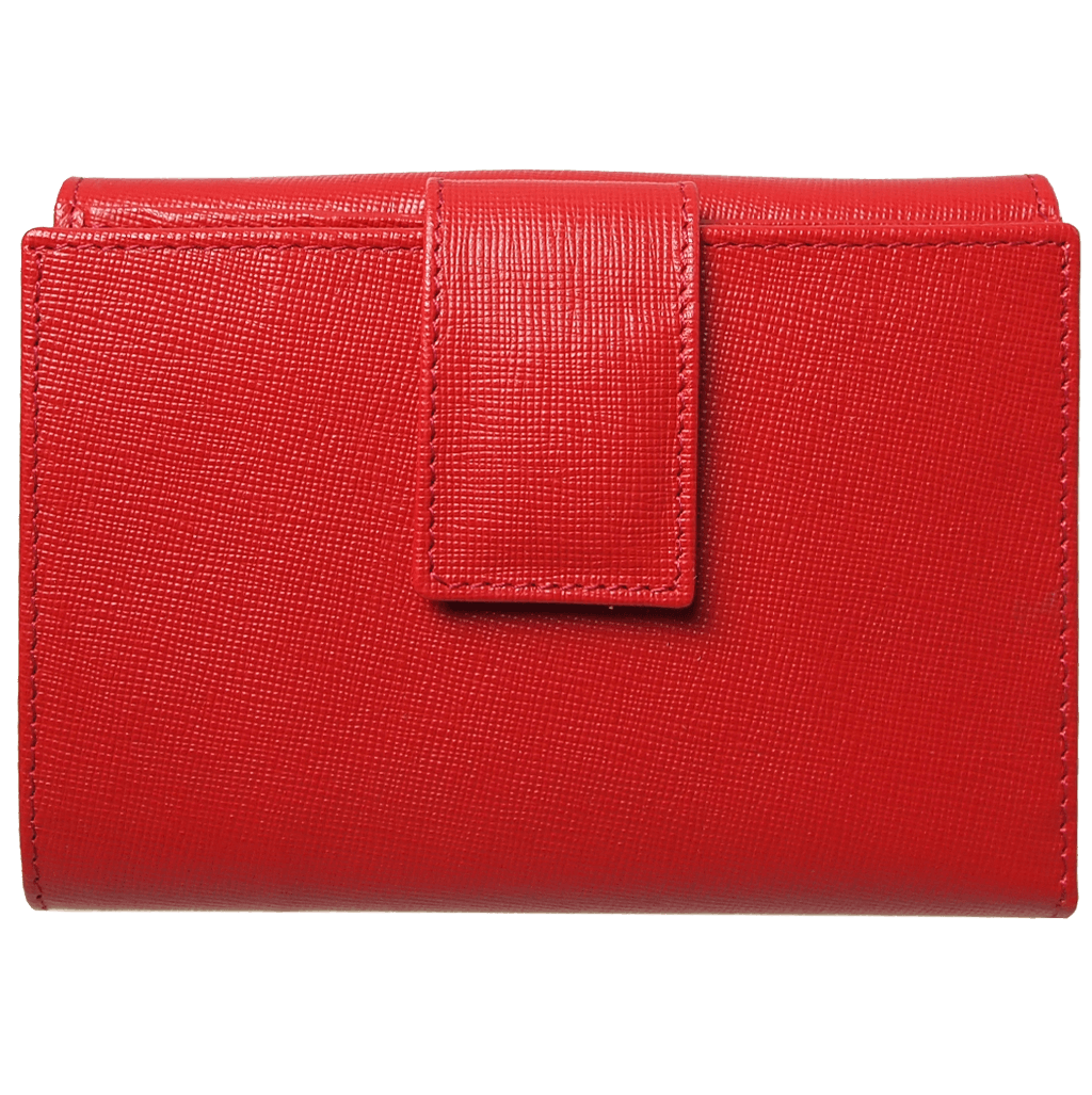 72 Smalldive Womens Wallets 6 Credit Card Saffiano Leather French Wallet Red.