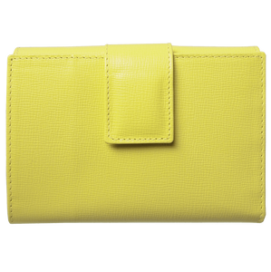 6 Credit Card Saffiano Leather French Wallet Lemon-Womens Wallets-72 Smalldive