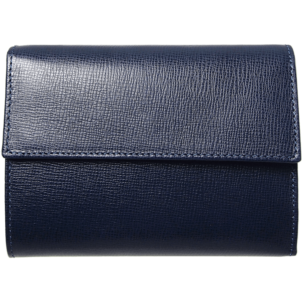 5 Credit Card Saffiano Leather TriFold Wallet Blue-Womens Wallets-72 Smalldive