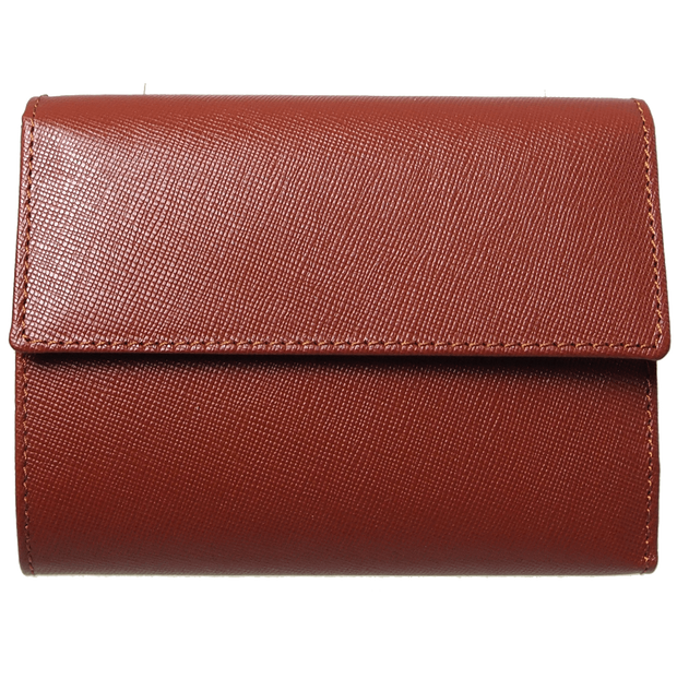 Saffiano Tri Fold Wallet Brown-Womens Wallets-72 Smalldive