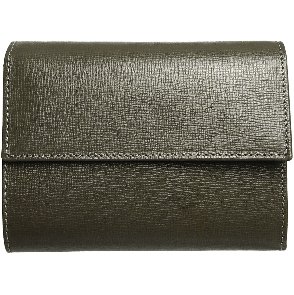 5 Credit Card Saffiano Leather TriFold Wallet Olive-Womens Wallets-72 Smalldive
