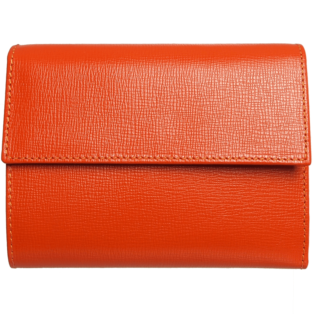 5 Credit Card Saffiano Leather TriFold Wallet Orange-Womens Wallets-72 Smalldive