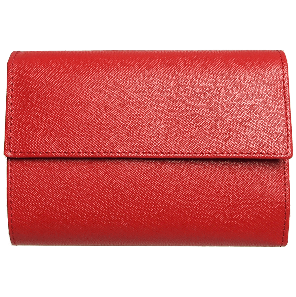 5 Credit Card Saffiano Leather TriFold Wallet Red-Womens Wallets-72 Smalldive