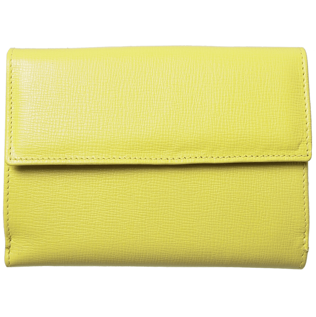 72 Smalldive Womens Wallets 5 Credit Card Saffiano Leather TriFold Wallet Lemon.
