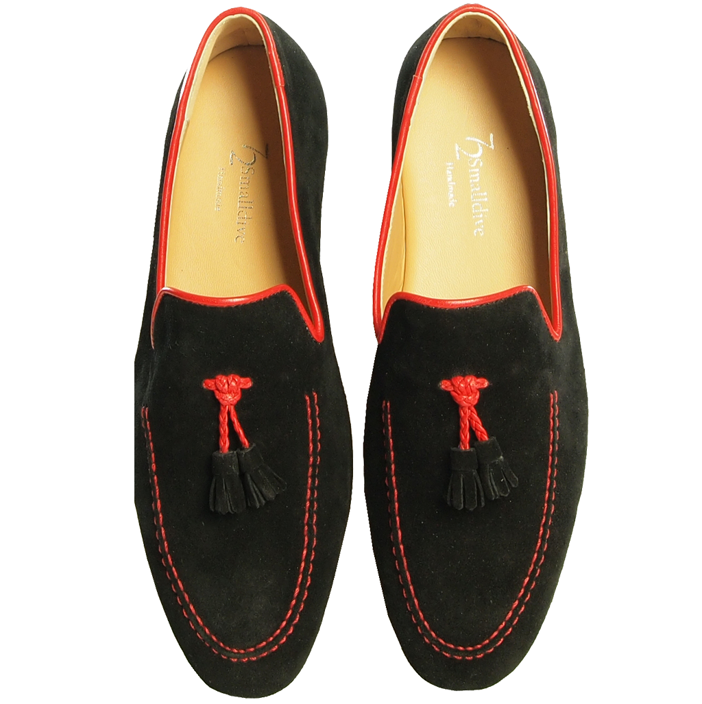 Suede Loafers in Calf Leather Trimming Black-Outlet-72 Smalldive