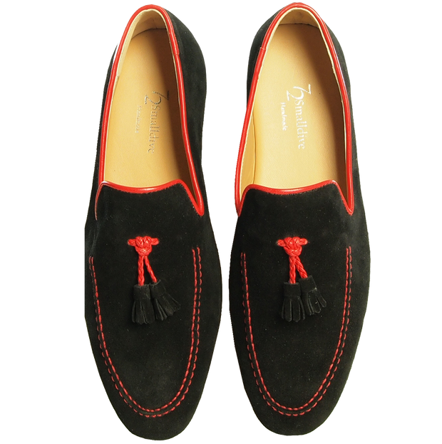Suede Loafers in Calf Leather Trimming Black - 72 Smalldive