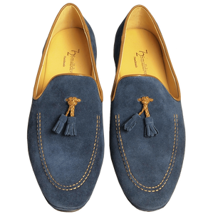 72 Smalldive Outlet Suede Loafers in Calf Leather Trimming Blue.