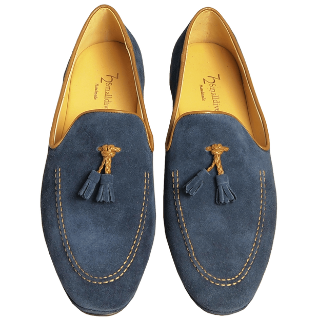 Suede Loafers in Calf Leather Trimming Blue - 72 Smalldive
