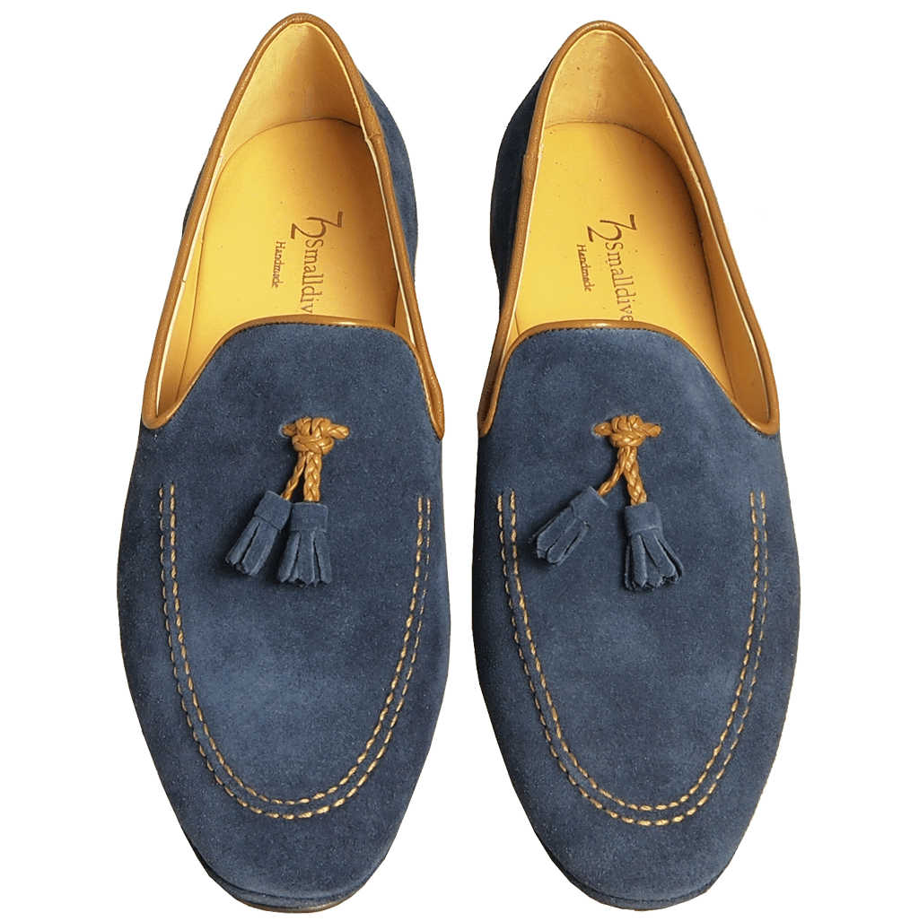 Suede Loafers In Calf Leather Trimming Blue