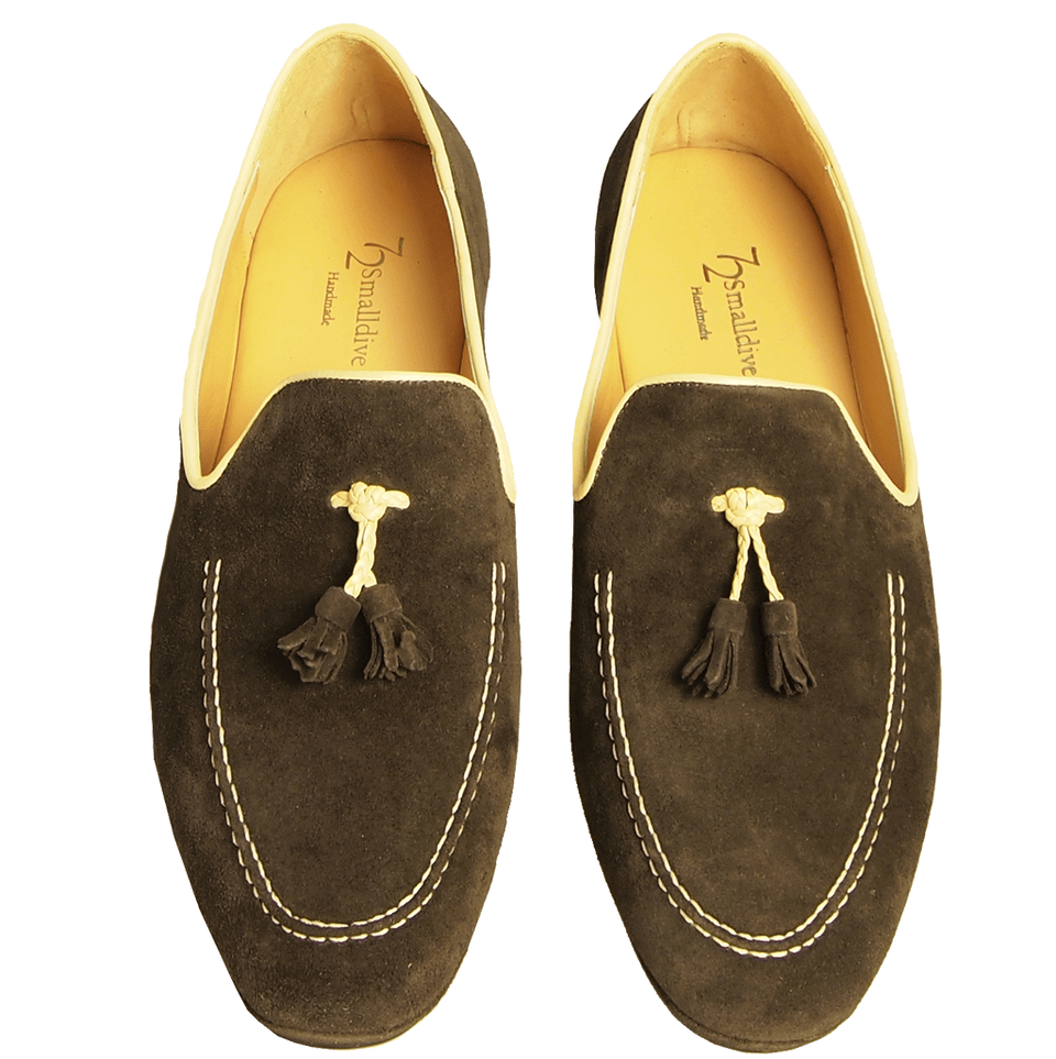 Suede Loafers in Calf Leather Trimming Brown-Outlet-72 Smalldive