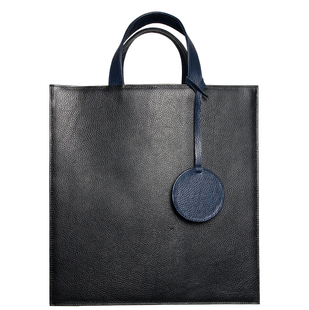 Pebbled Leather Briefcase Tote Bag Black-Bags-72 Smalldive