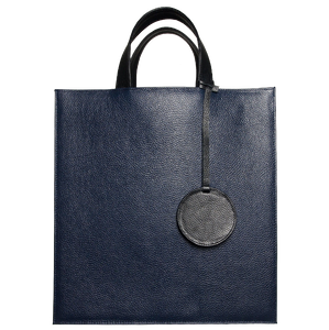 Pebbled Leather Briefcase Tote Bag Navy-Bags-72 Smalldive