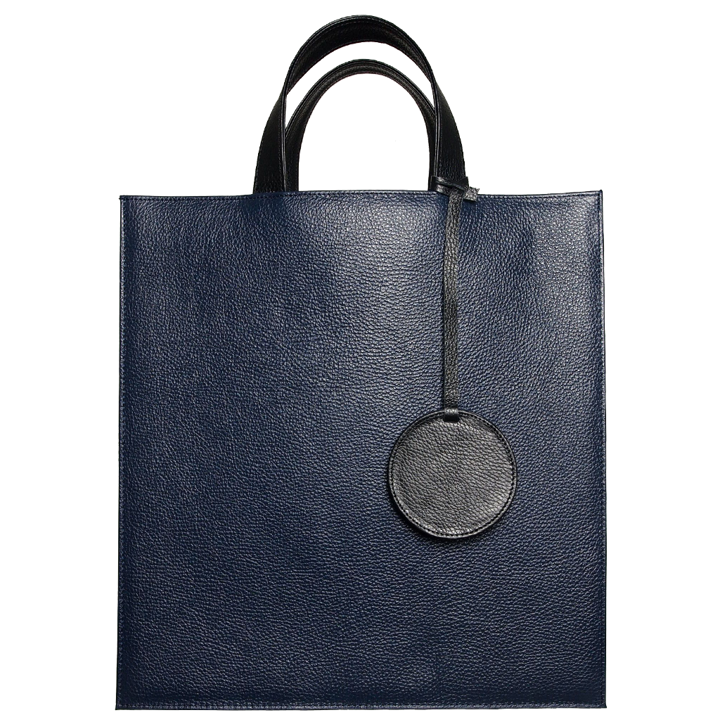 Leather Tote Bag Navy-Unisex Bags-72 Smalldive