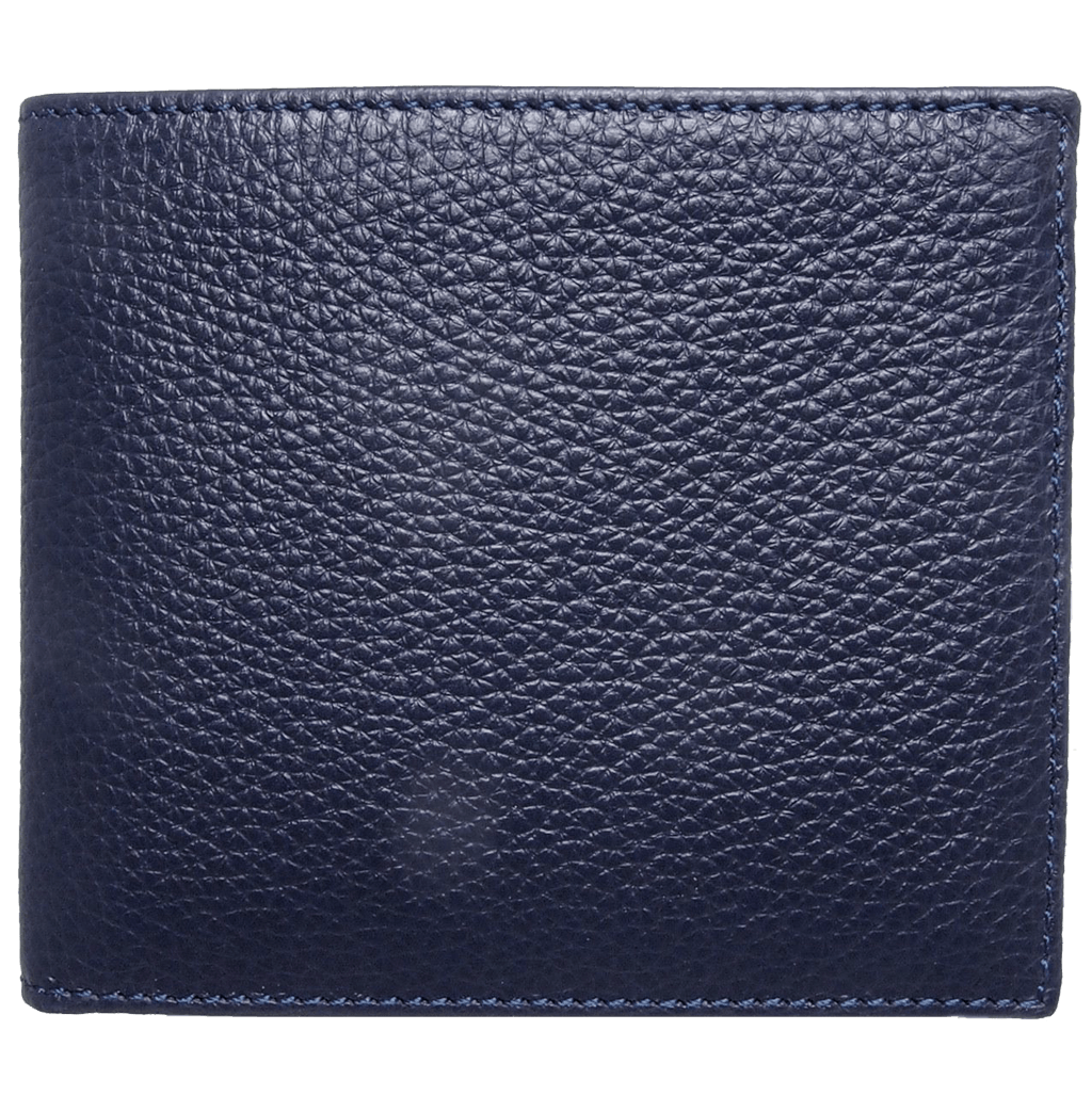 Small Pebbled Calf Leather Billfold Wallet Navy - 72 Smalldive