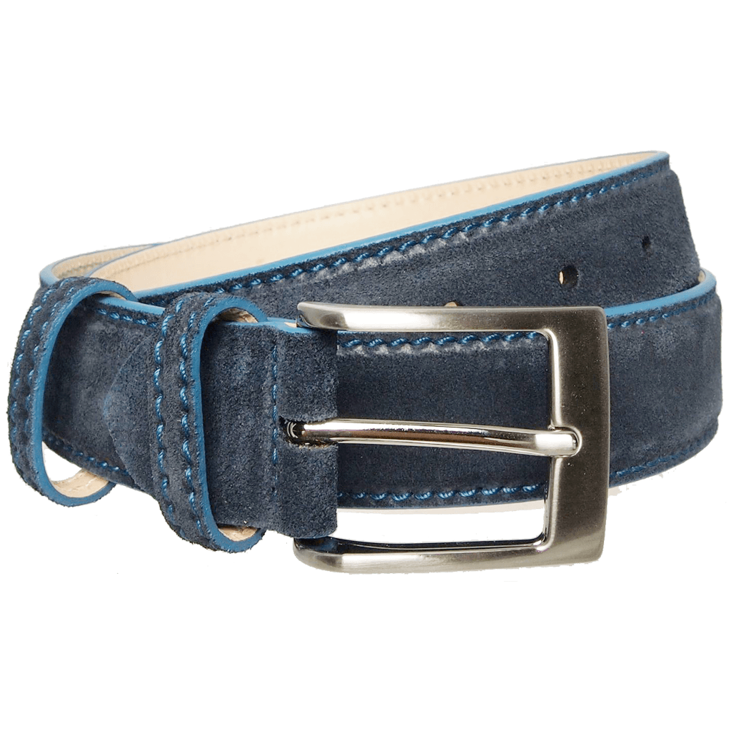 34 mm Lacquered Edge Suede Belt Navy-Mens Belts-72 Smalldive