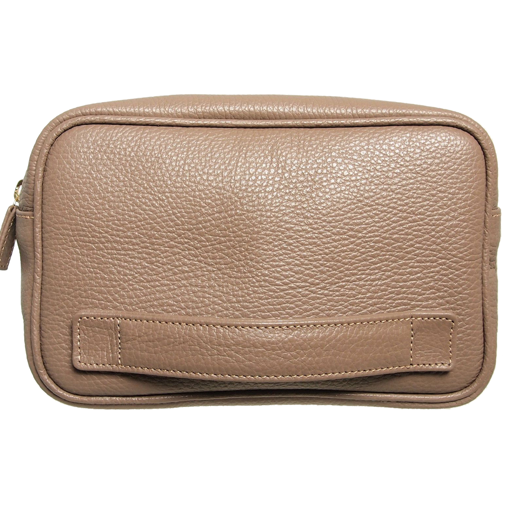 Grained Leather Dopp Kit Taupe-Bags-72 Smalldive
