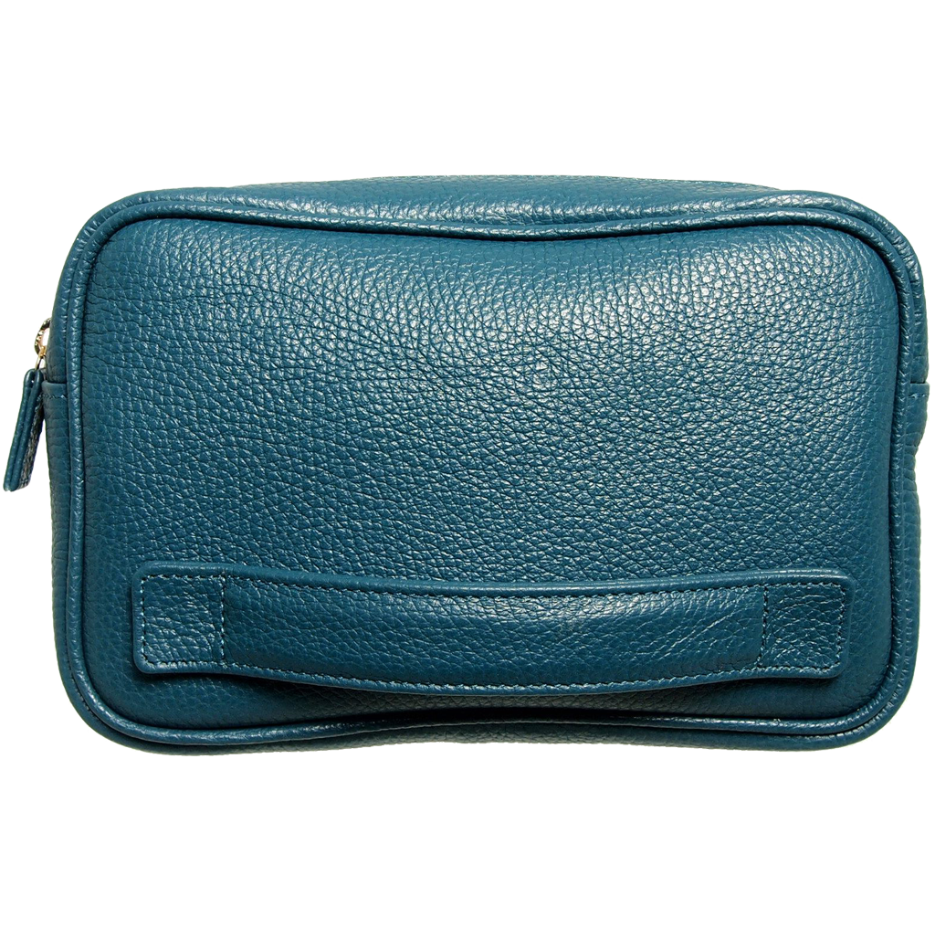 Pebbled Leather Dopp Kit Teal-Minis & Pouches-72 Smalldive