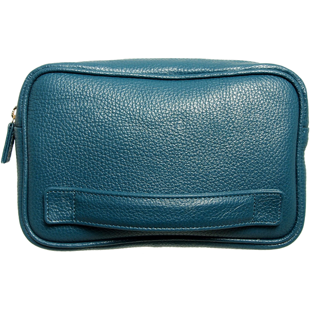 Pebbled Leather Dopp Kit Teal-Bags-72 Smalldive