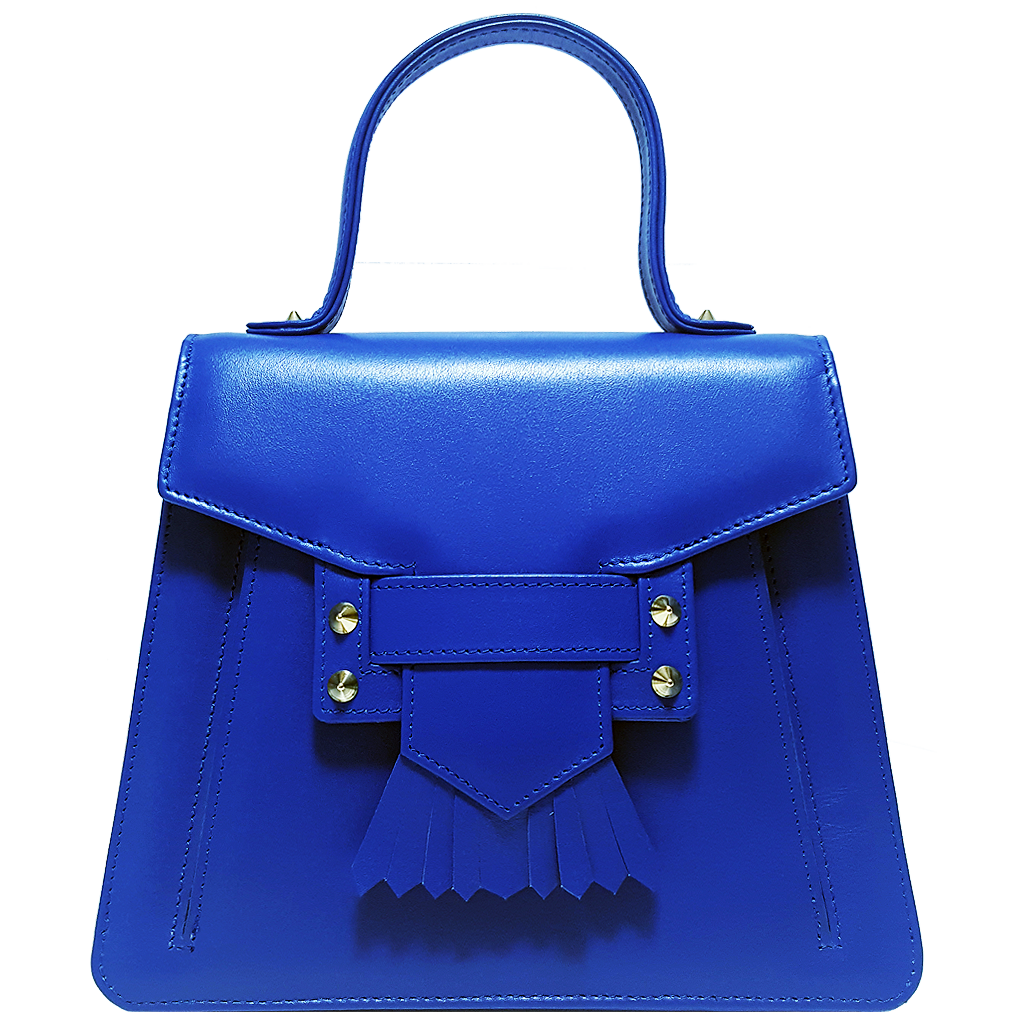 Top Handle Fringed Clasp Handbag Blue - 72 Smalldive