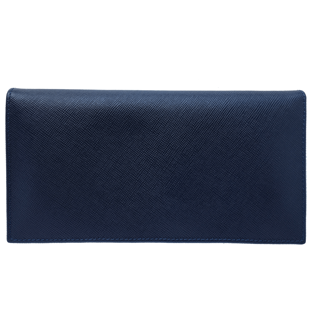 Saffiano Long Envelope Wallet Blue-Unisex Wallets-72 Smalldive