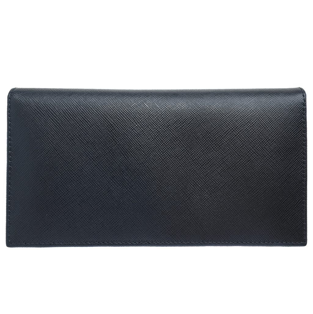 Saffiano Long Envelope Wallet Black-Unisex Wallets-72 Smalldive