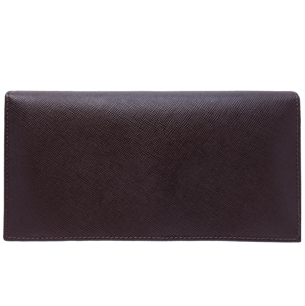 Saffiano Long Envelop Wallet Brown-Unisex Wallets-72 Smalldive