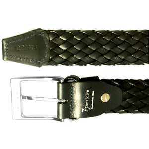 34 mm Weave Leather Belt Black-Mens Belts-72 Smalldive