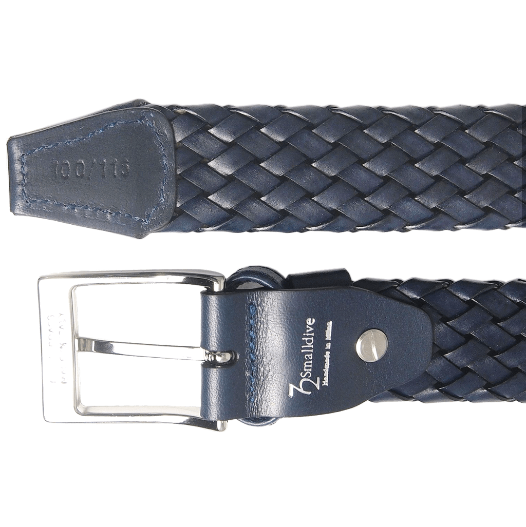 34 mm Weave Leather Belt Navy-Mens Belts-72 Smalldive