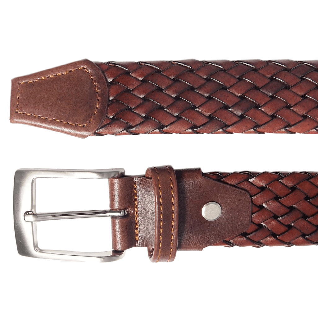 34 mm Weave Leather Belt Brown-Mens Belts-72 Smalldive