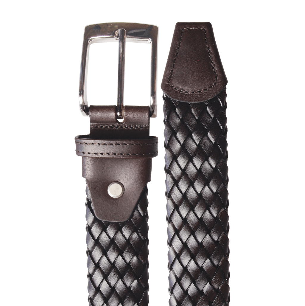 34 mm Tubular Weave Belt Dark Brown-Mens Belts-72 Smalldive