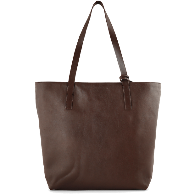 Reversible Buffed Calf Leather Vertical Tote Brown - 72 Smalldive